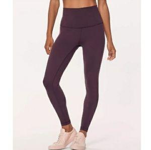 "Lululemon dark purple 21"" leggings *flaw*"